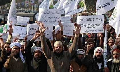 Anti-Charlie Hebdo protesters in Quetta, Pakistan